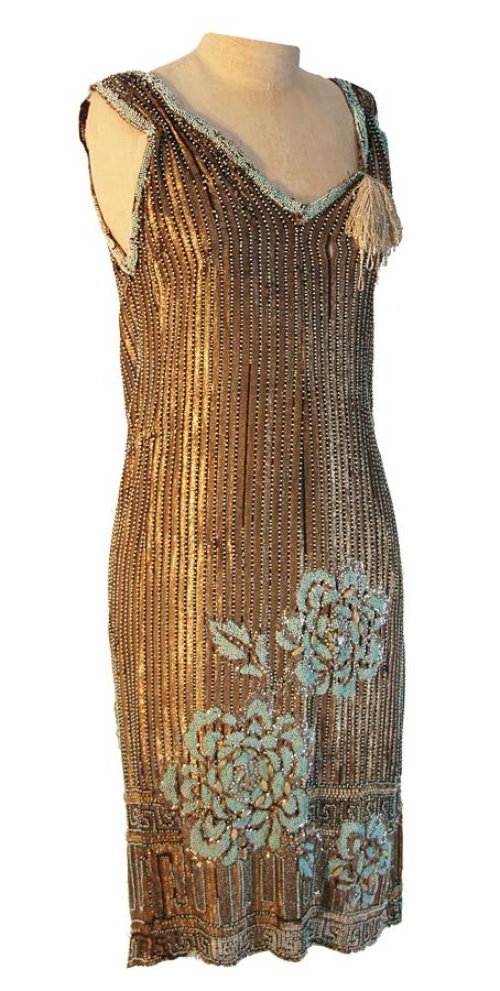 Kleid 1920er-Jahre, Perlen gold mint