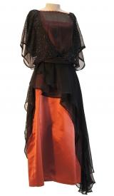Jahrhundertwende Kleid aus Satin und Chiffon