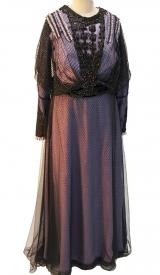 Jahrhundertwende Kleid aus Seide  mit Tüll und Perlenschnüren