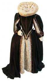 Elisabethanisches Kleid aus Brokat und Samt
