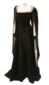 Tudor Kleid aus Samt mit gold Stickerei und Porte