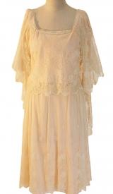 20er Jahre Kleid aus Chiffon mit aufgearbeiteter Spitze