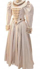 Elisabethanisches Kleid klein gemustert mit Mühlsteinkragen