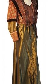 Jahrhundertwende Kleid aus Taft mit Samtborte