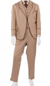 Jahrhundertwende Anzug 3-teilig, braun eingefasst